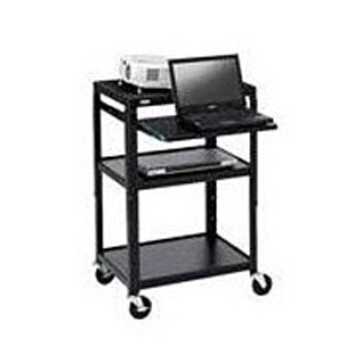 Bretford A2642NS Adjustable A-V Projector Cart for 26 to 42 inches TV Laptop Computer - Black powder