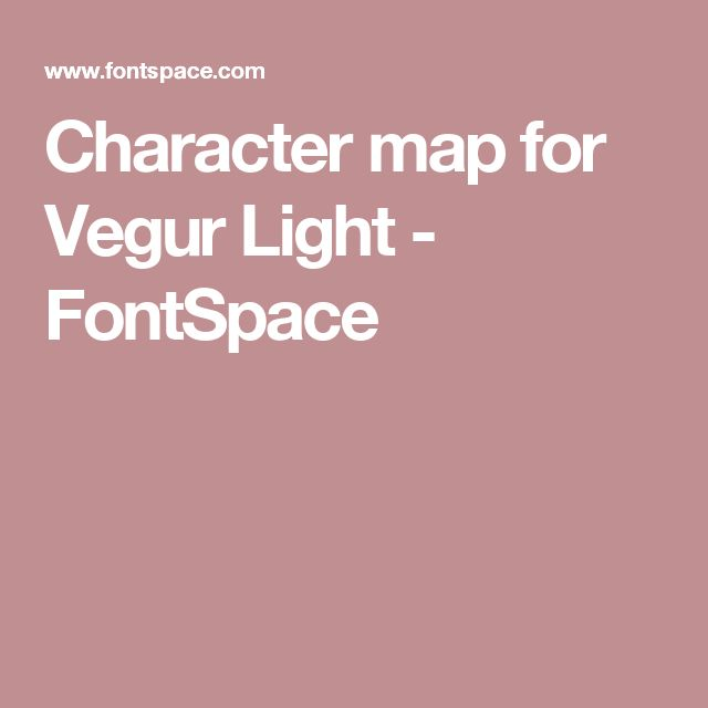 Character map for Vegur Light - FontSpace