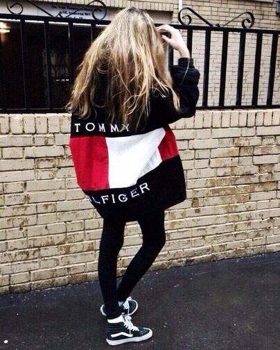 "Isn't this outfit just adorable? The oversized Tommy Hilfiger sweatshirt and black leggings, pair perfectly with the black ""Hi Top"" Vans! For more Chic Fashion, check out the ""STYLE."" board from Katelyn Adair!"