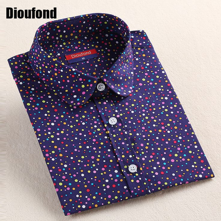 Dioufond 2016 Fashion Polka Dot  Blouse Long Sleeve Shirt Women Blouses Cotton Women Shirts Red Blue Dot Top Blusas Women Tops