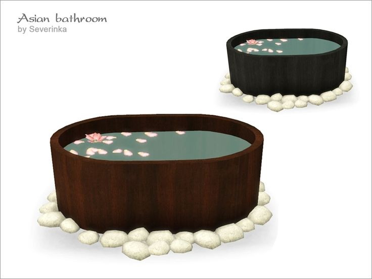 Japan National ofuro hot tub. Tub is always full of water with flower petals. Found in TSR Category 'Sims 4 Showers & Tubs'