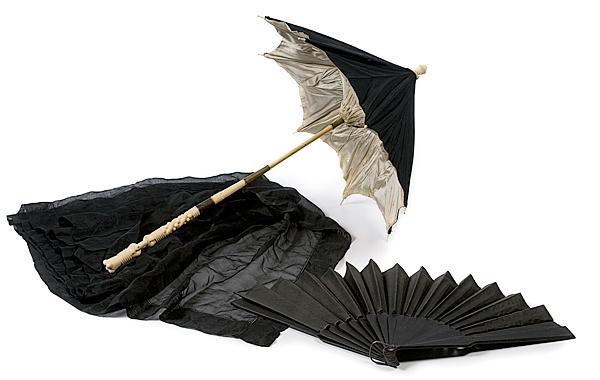 """Mary Todd Lincoln's Mourning Carriage Parasol, Veil and Fan: 1865, all of black silk. """"Descended Directly in the Family of Robert Todd Beckwith, Last Male Descendent of Abraham Lincoln"""""""