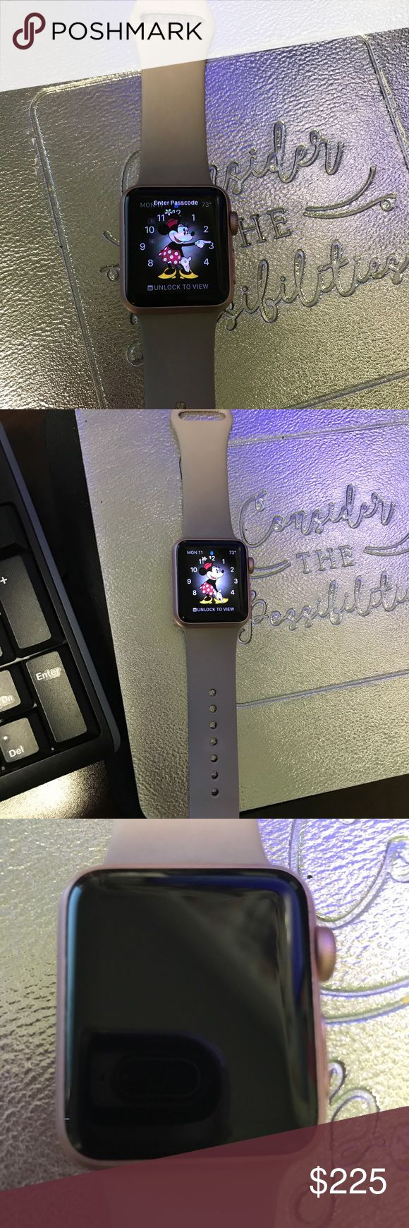Apple Watch w/ used sm/md band and new md/lg band Apple Watch with used sm/md band and new md/lg band 38 mm comes with original box. Small band is worn. Watch is in pretty great used condition. Accessories Watches