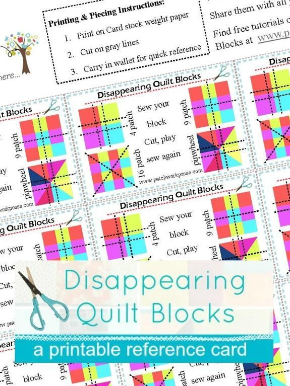 (7) Name: 'Quilting : Disappearing Quilt Blocks Printable Card