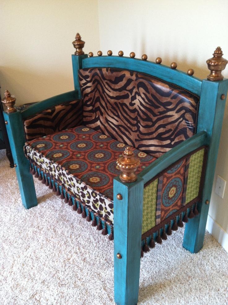 Whimsical Headboard Footboard Bench Upholstered Suzani