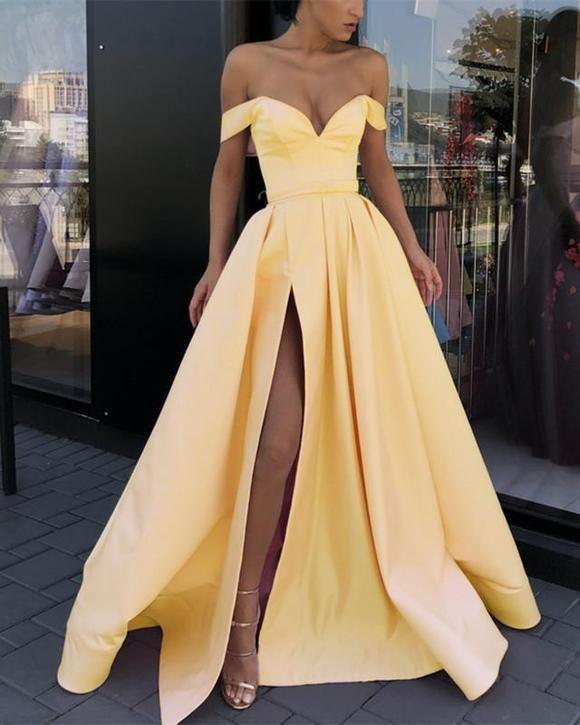 Off Shoulder A-Line Prom Dress,Long Satin Evening Dress