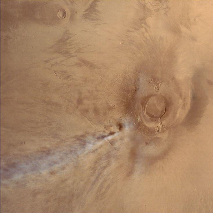 Mars Orbiter Mission image of the Tharsis volcano Arsia Mon.  Image Credit: ISRO / ISSDC / Justin Cowart