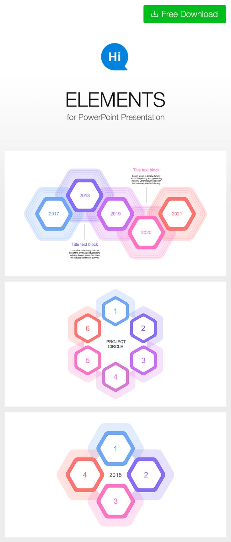 #Timeline and #circular #template for #Keynote #free DOWNLOAD https://hislide.io/product/easy-edit-5-year-timeline-ppt/ #polygon #hexagon