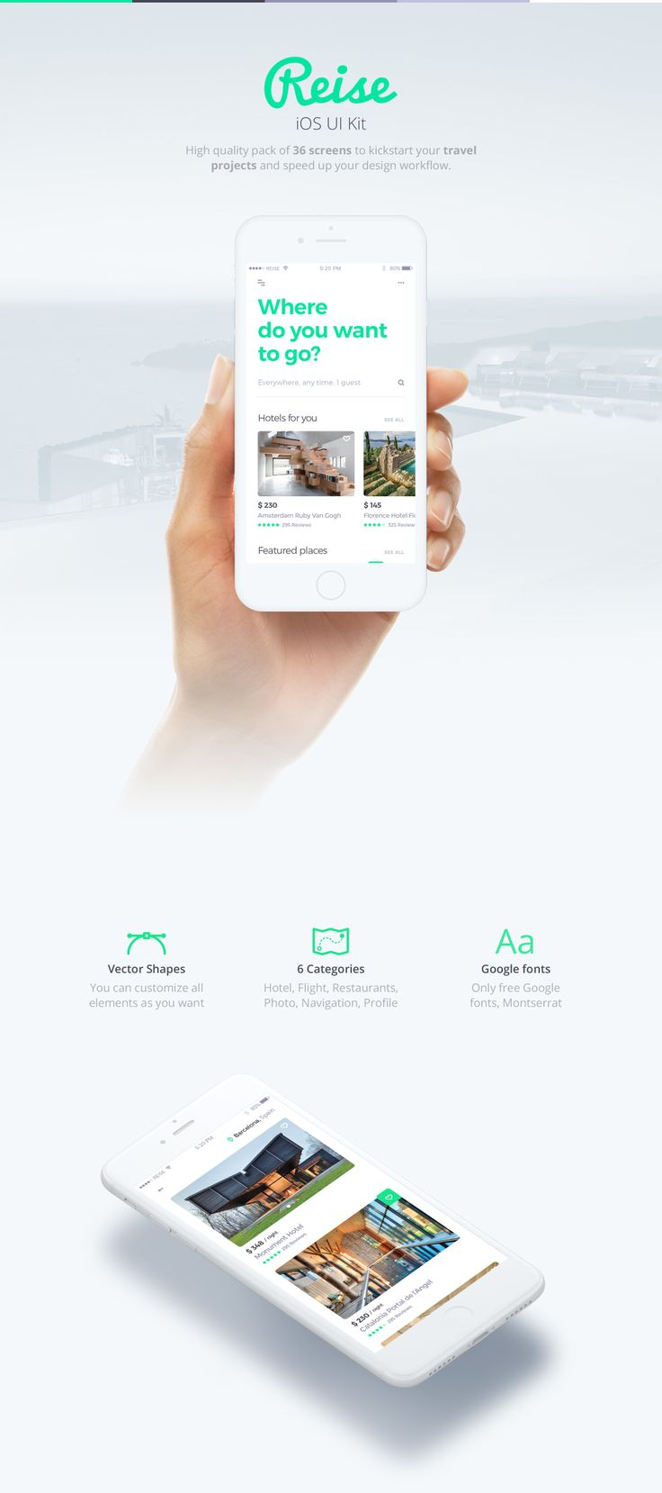 Reise iOS UI KIt is high quality pack of 36 screens to kickstart your travel projects and speed up your design workflow. Reise includes 36 high quality iOS screen templates designed in Sketch, 6 categories (Hotel Booking, Flight Booking, Restaurants, My Photos, Navigation, Profile). This modern design template is easy to customize, making it even easier for you to design your next app, projects and speed up your design workflow.