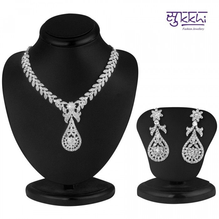 Pleasing Rhodium Plated AD Stone Necklace Set | High5Store.com