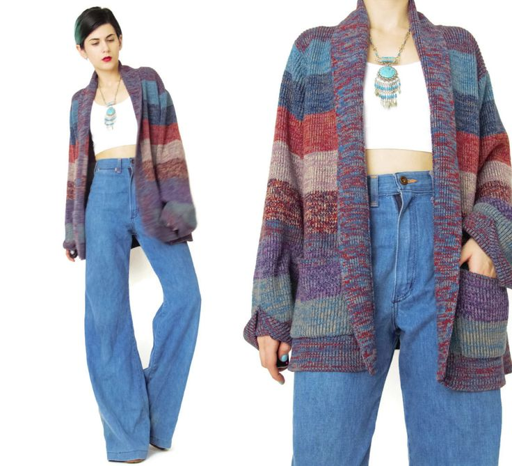 New to honeymoonmuse on Etsy: Vintage 70s Cardigan Striped Slouchy Cardigan Multi Color Wide Stripes Knitted Sweater Open Front Cardigan Boho Cardigan with Pockets (M) (60.00 CAD)