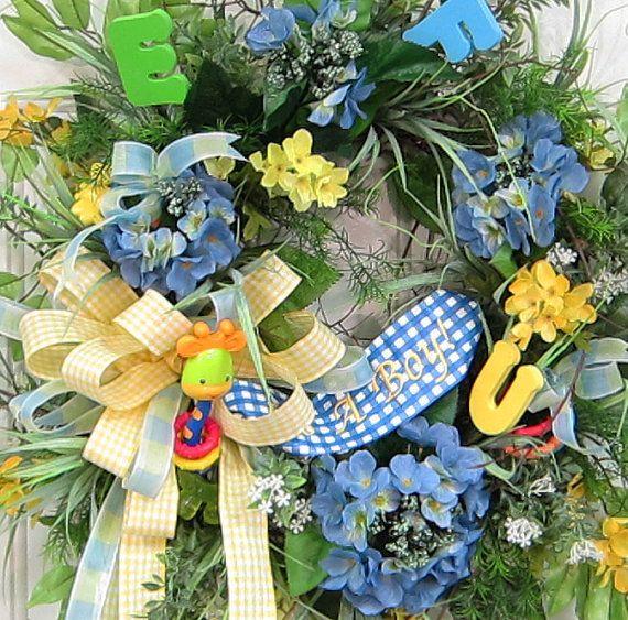 Welcome Baby Door Wreath It's a Boy Rattle Bath by LadybugWreaths, $129.97