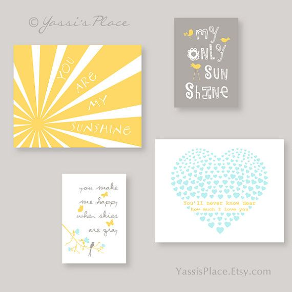 Nursery Art, You Are My Sunshine Nursery Decor, Yellow Gray Aqua 8x10 and 5x7 - Toddler Wall Art, baby gift by YassisPlace on Etsy, $69.80