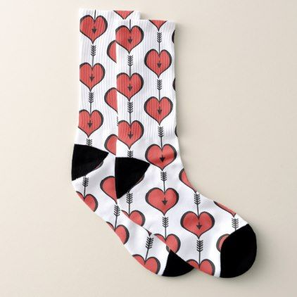Loving You Heart red Socks - valentines day gifts gift idea diy customize special couple love