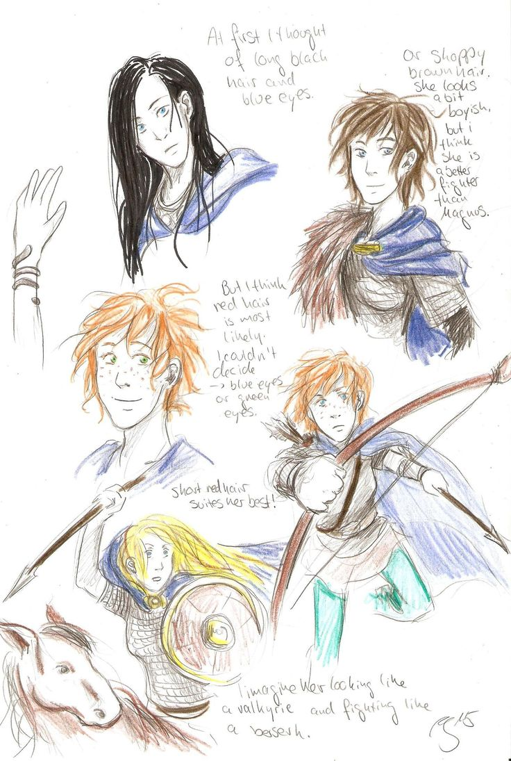 Magnus Chase and the gods of Asgard, I was thinking what the female companion of Magnus would look like. I was thinking of a red haired girl. And because we all know Rick Riodan, the female companion is probably the better fighter. -by Akki