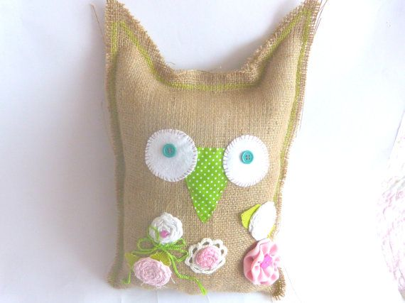 Jute Pink Owl Decorative Owl Pillow Custom by CrossStitchElizabeth