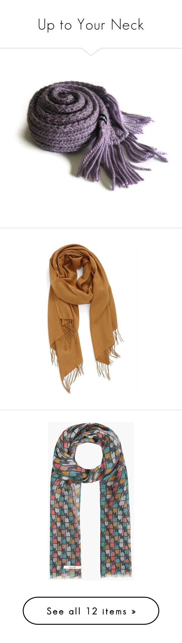 """""""Up to Your Neck"""" by miss-a-belle ❤ liked on Polyvore featuring accessories, scarves, woolen scarves, long scarves, hand knitted shawl, cowl scarves, chunky knit scarves, brown saddle, brown scarves and brown shawl"""