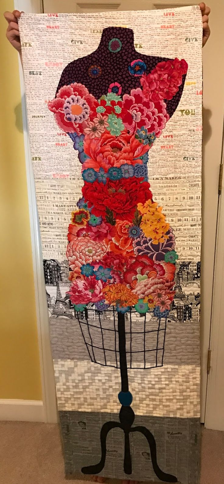 """This was made from the pattern """"Perfect Form"""" by Laura Heine. The finished quilt is 20""""x60"""". I added a facing instead of a binding for my ..."""