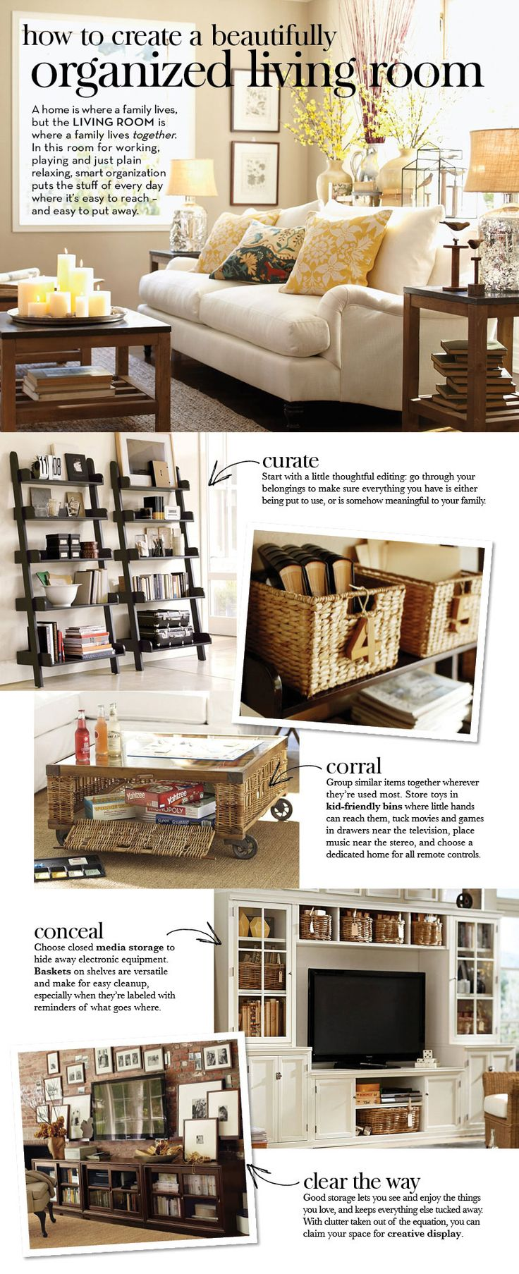 How to Create a Beautifully Organized Living Room   Pottery Barn