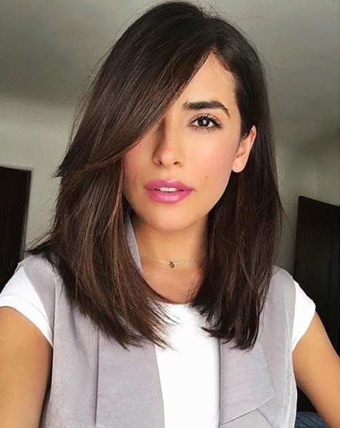 Long Bob Haircut with Side Bangs for Brunettes