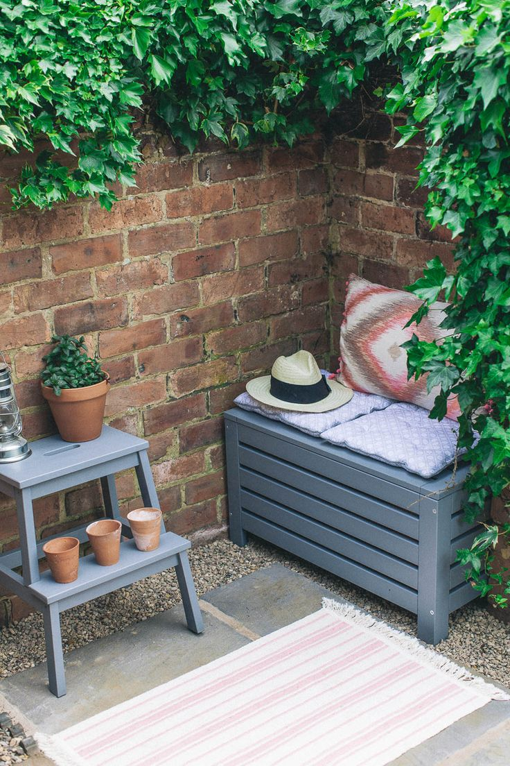 Ikea stool and bench painted with grey garden paint