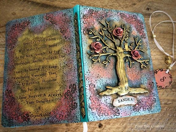 Personalized Journal Polymer clay journal Tree of Life
