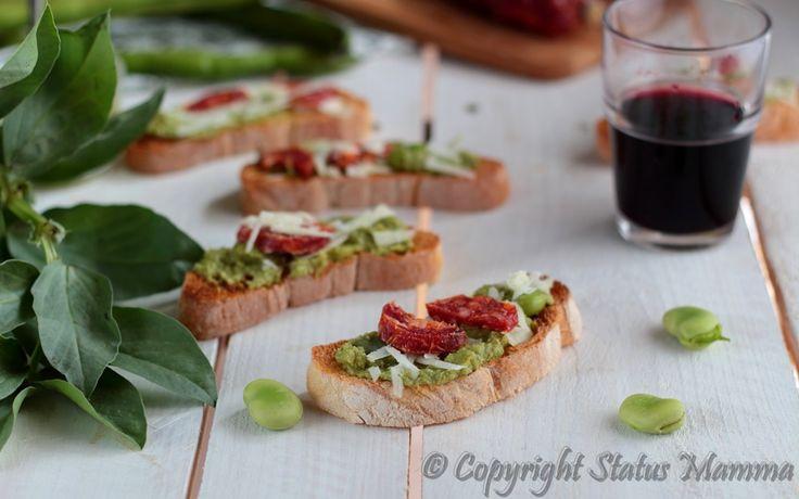 Bruschette pesto fave salame pecorino ricetta veloce antipasto fingerfood food photografy styling Statusmamma