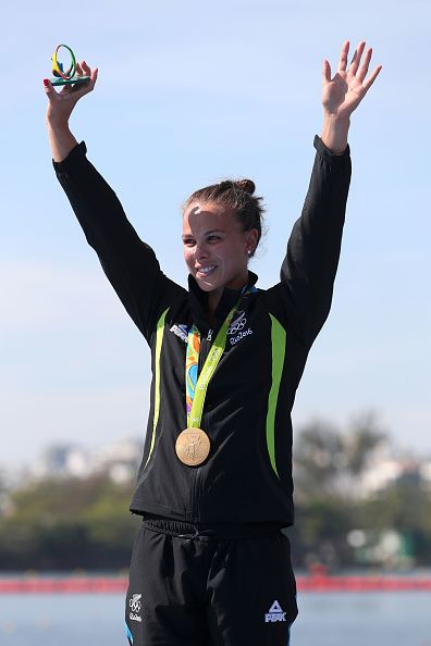 Gold medalist Lisa Carrington of New Zealand celebrates on the podium during the…