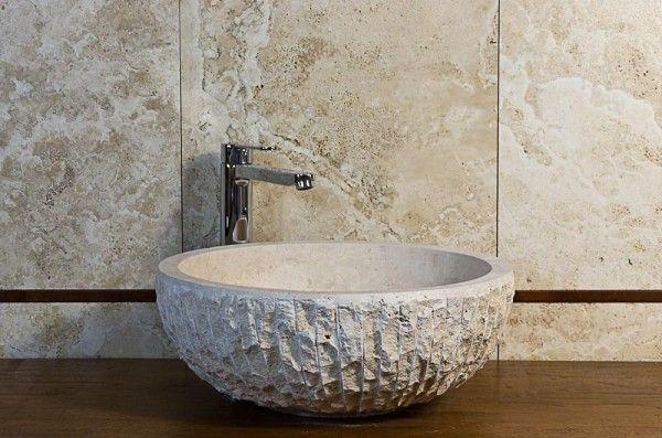 Lavabo in pietra per il bagno pietredirapolano travertino lavabi lavandini pietranaturale - Lavabo pietra bagno ...