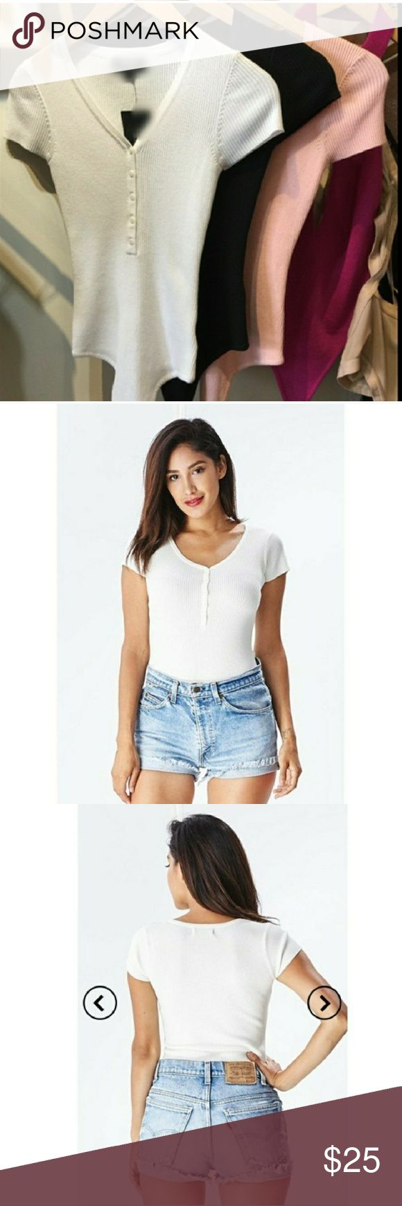 S NWT sexy white tee bodysuit boutique brand 👕🛍 See description in pic.5 above. Brand new with tag.  Best fits XS/S. Reduced shipping available upon request. 5 star rated seller. Photo credit @desiredcloset. boutique Tops Tees - Short Sleeve