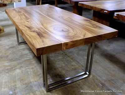 """79"""" L modern desk Dining table Exotic solid Acacia wood stainless steel legs"""