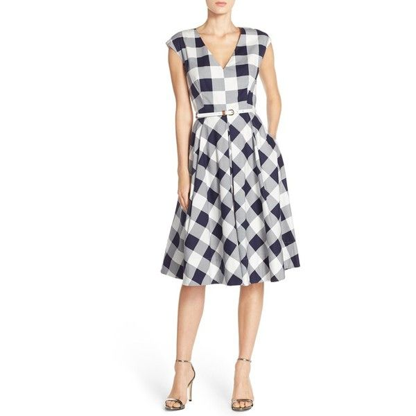 Petite Eliza J Gingham Stretch Cotton Fit & Flare Dress ($138) ❤ liked on Polyvore featuring dresses, petite, white fit-and-flare dresses, petite fit and flare dresses, tea length dresses, eliza j dresses and skinny belt