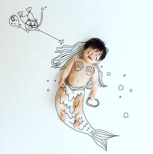 寝相アートに新ジャンル?インスタママが描く「寝相らくがきアート」の世界観が、好き♡の画像6
