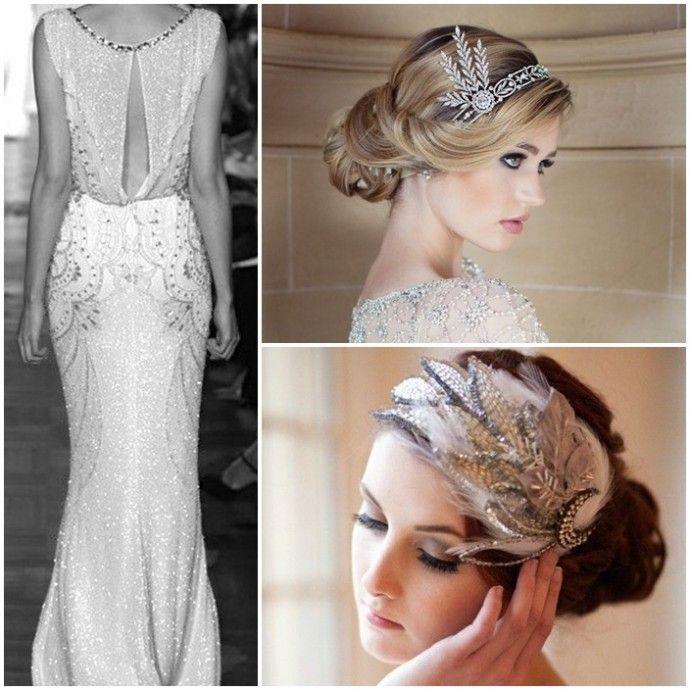 ... vintage, Robes de mariage perlées et Mariage thème années 20