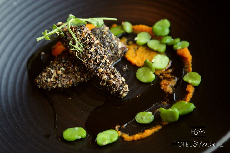 Crusted Otago hare Loin served with carrot puree, broad beans & pea tendrils | Hotel St Moritz Queenstown |