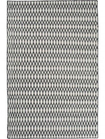 Tappeto di lana Elliot Bianco & Nero