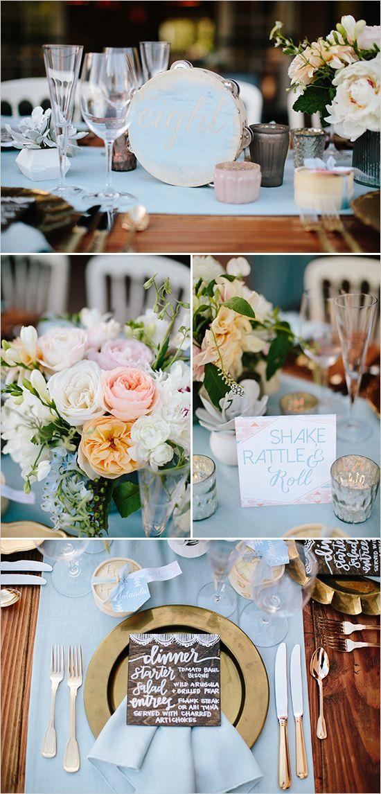 pastel and gold tamborine table decor