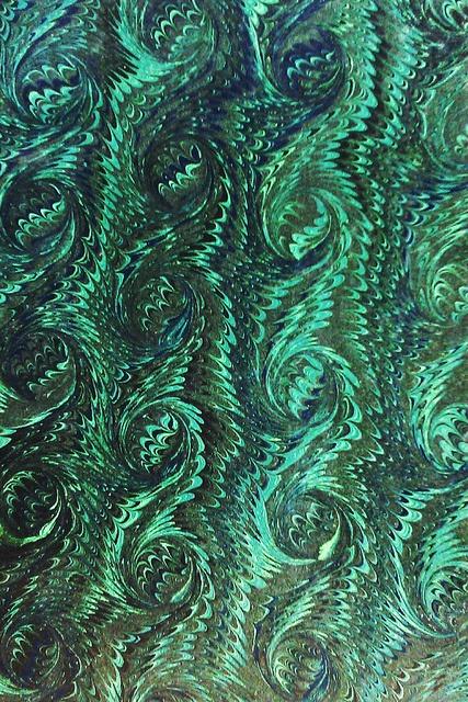 Marmoreret bogbind - grønt