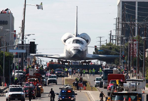 (October 2012) The Space Shuttle Endeavour began its two-day crawl through Los Angeles to its retirement at the California Science Center.