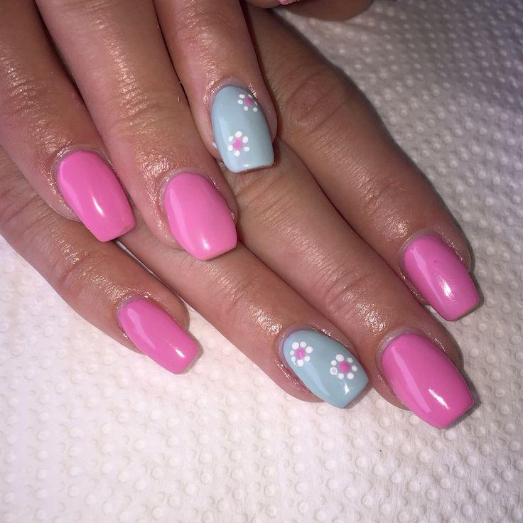Pink and green gel polish nails (ibd funny bone and just keep swimmin)