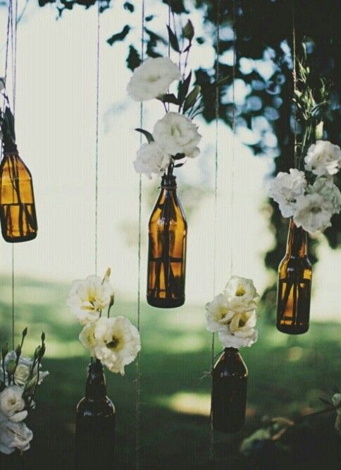 Cute idea for outdoor wedding maybe with mason jars and fake candles.