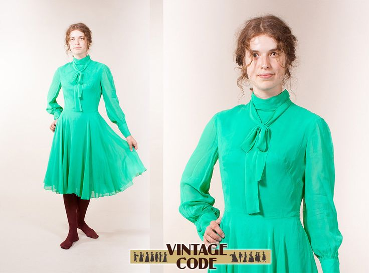 Electric green Electric blue long sleeve dress / West German high fashion haute couture dress by Uli Richter / size  small to medium by vintagecode on Etsy https://www.etsy.com/listing/199525449/electric-green-electric-blue-long-sleeve