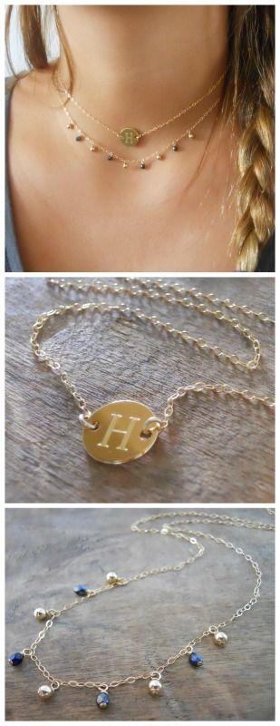 A personalizes gold necklace set that combines 2 necklaces