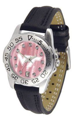 "Virginia Tech Hokies NCAA Mother of Pearl ""Sport"" Ladies Watch (Leather Band) by SunTime. $59.04. Scratch Resistant Face. Rotation Bezel/Timer. Calendar Date Function. This handsome, eye-catching watch comes with a genuine leather strap. A date calendar function plus a rotating bezel/timer circles the scratch-resistant crystal. Sport the bold, colorful, high quality logo with pride. The hypnotic iridescence of our natural blush mother of pearl combined with the sparkling brillia..."