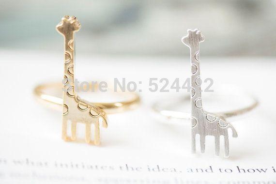 Min 1pc Fashion Animal Shape Ring Jewelry Cute Giraffe Image Ring Accessories JZ203