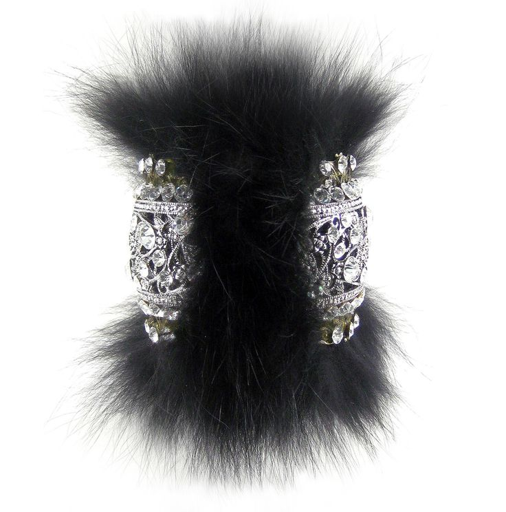 Glamorous, chic and oh so cozy! Karen McFarlane coyote fur, and rhinestone encrusted filigree hinged cuff bracelet. http://www.jewellerybykaren.com/boutique/bracelets/bracelet-1020b