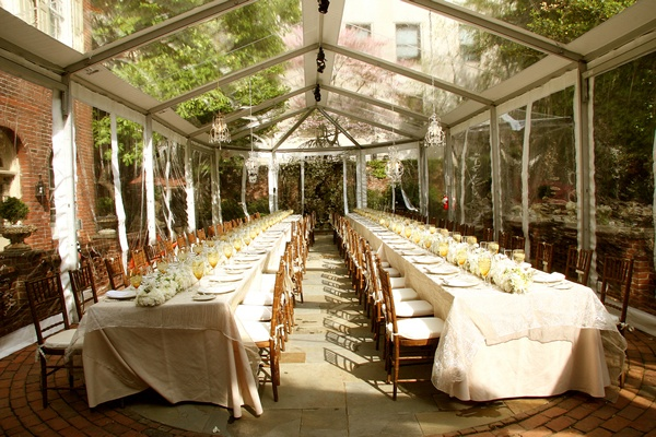 excellent shot of the wedding tent in the m restaurant and