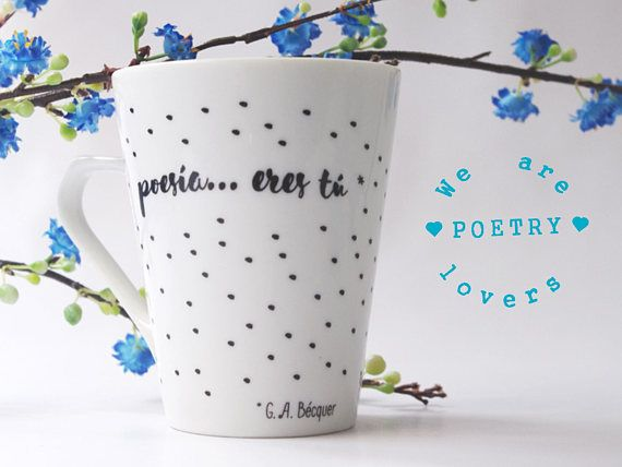 Poetry lovers mug designed by ¡Oh capitán, mi capitán!  ♦ Conical porcelain mug with black dots and the hand written typography text: Poesía... eres tú. Poesía...eres tú means Poetry...is you. Is one of the more famous lines of Spanish poetry. It was written by the romantic poet