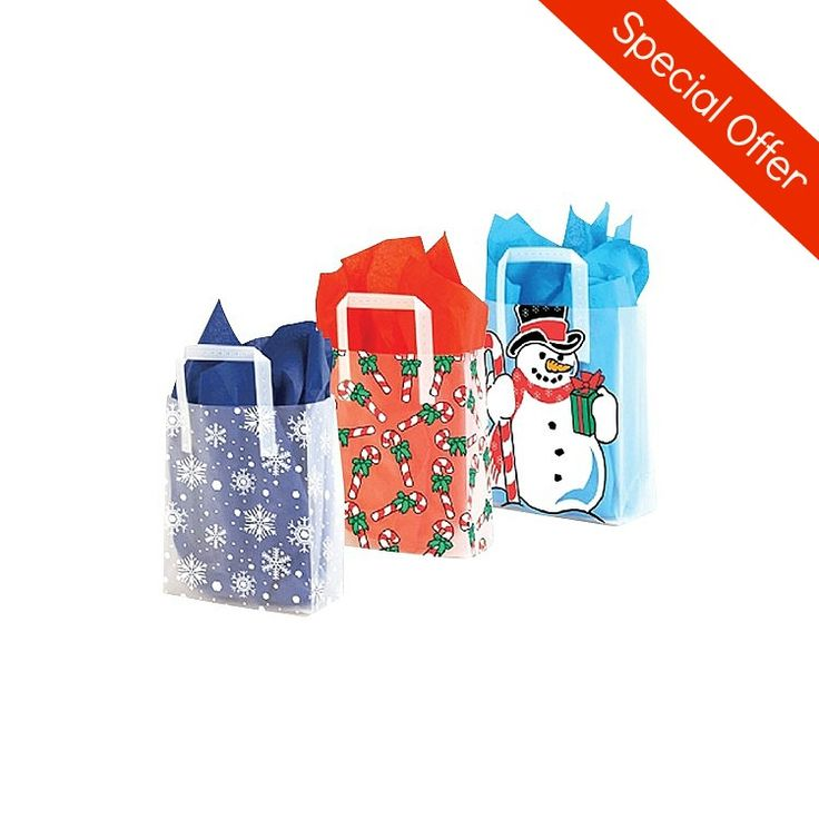 Tis the season for festive looking packaging! These clear plastic bags with its fun designs are great for the holiday season. All bags have a side and bottom gusset and plastic handles.
