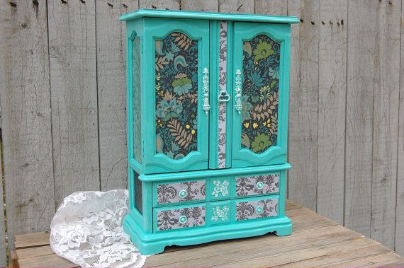 Reserved Shabby Chic Jewelry Box Armoire Tiffany Blue